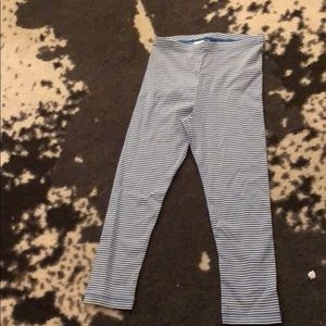 NWOT blue striped Capri leggings tea size 8